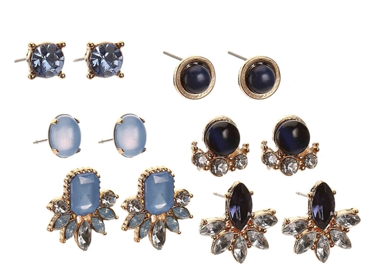 Picture of JEWELED STUD EARRING SET - 6 PACK